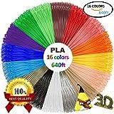 3D Stift Farben-16 Farben 6M PLA Filament 1.75mm für 3D Stift, 3D Drucker, kompatibel mit ODRVM, Tipeye, Uvistare, Sunlu, PLUSINNO, QPAU, Kozy Life, Juboury, Nexgadget und dikale 3d Pen