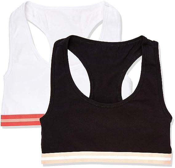 Marca Amazon - IRIS & LILLY Crop Top de Algodón para Mujer, Pack ...