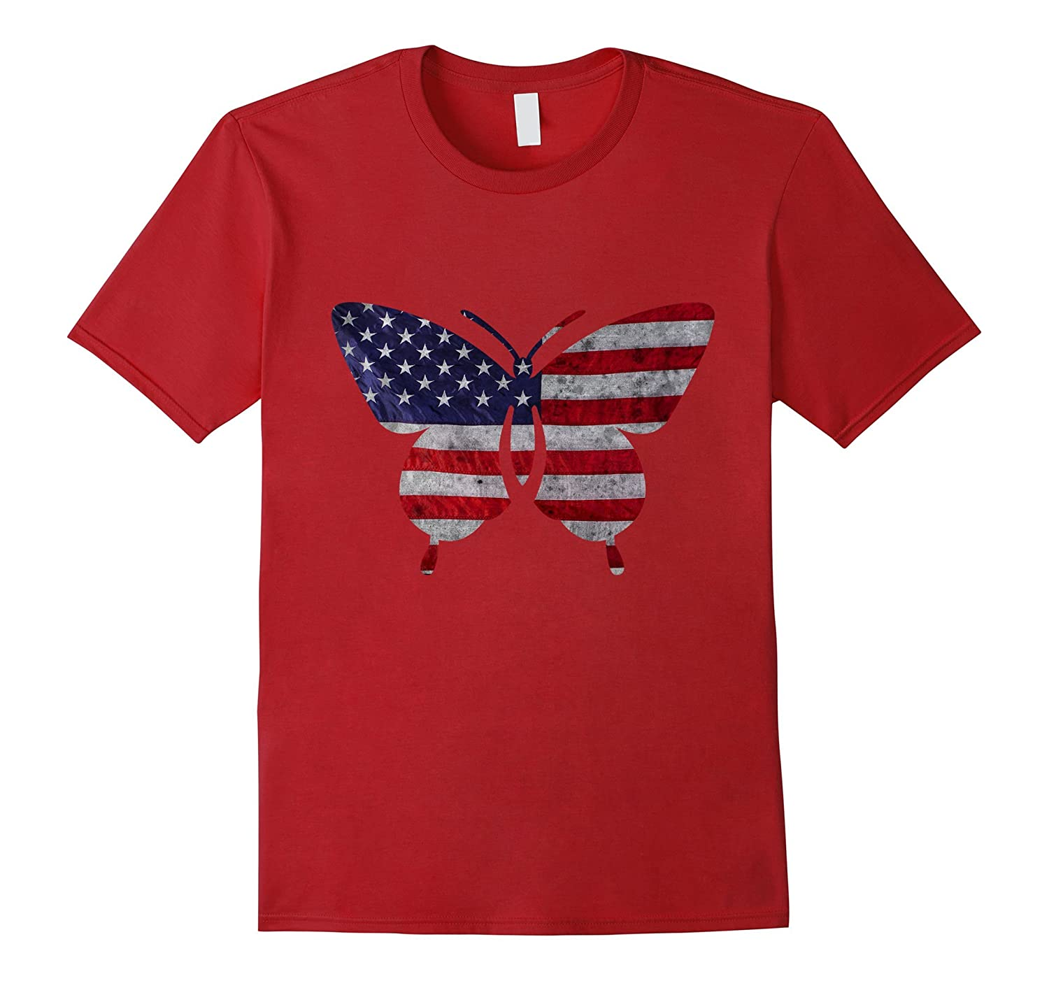 American Butterfly Flag T-Shirt - Vintage USA Flag-PL