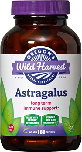 Oregon s Wild Harvest Non-GMO Certified Organic Astragalus Capsules Long Term Immune Support Herbal Supplements, 180Count