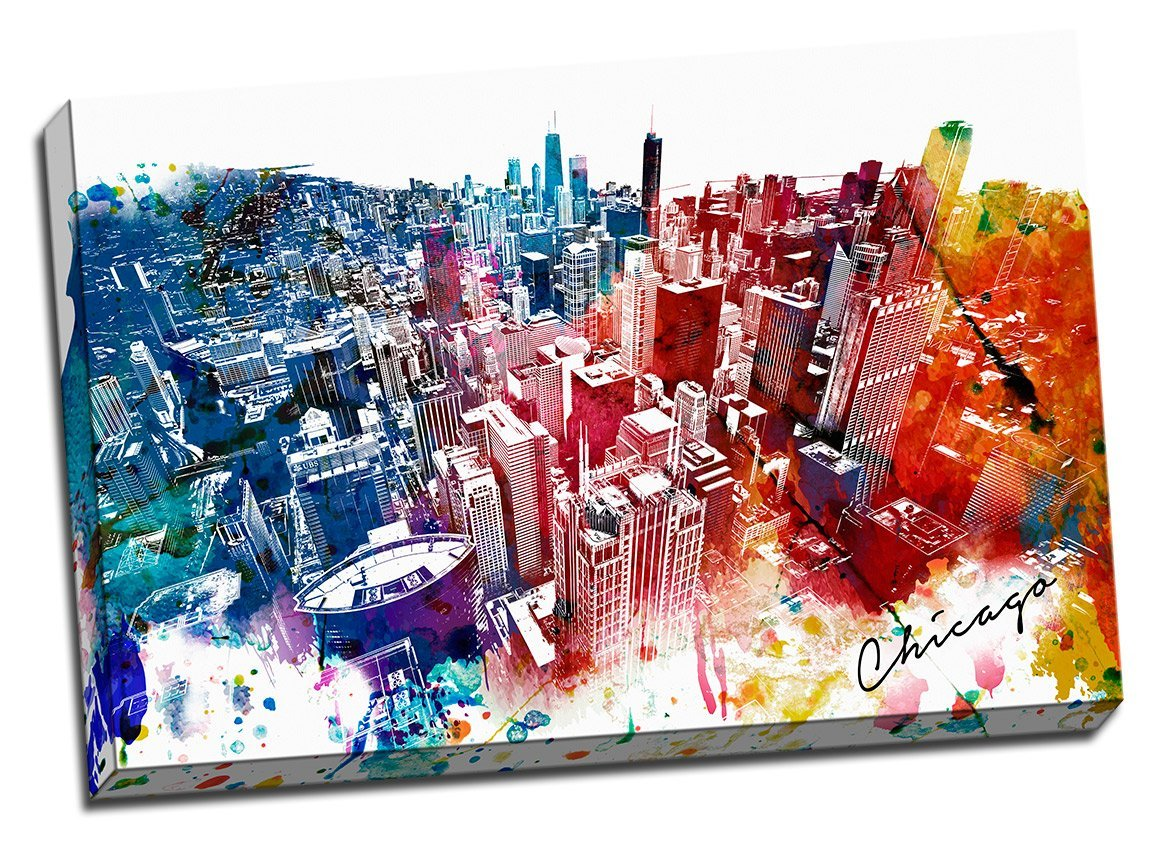 Amazon.com: Colorful Downtown Chicago Urban Painting Canvas Wall Art ...