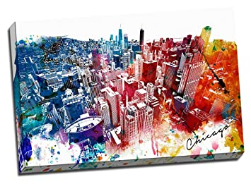 Colorful Downtown Chicago Urban Painting Canvas Wall Art Stretched Onto  24x36u0026quot; ...