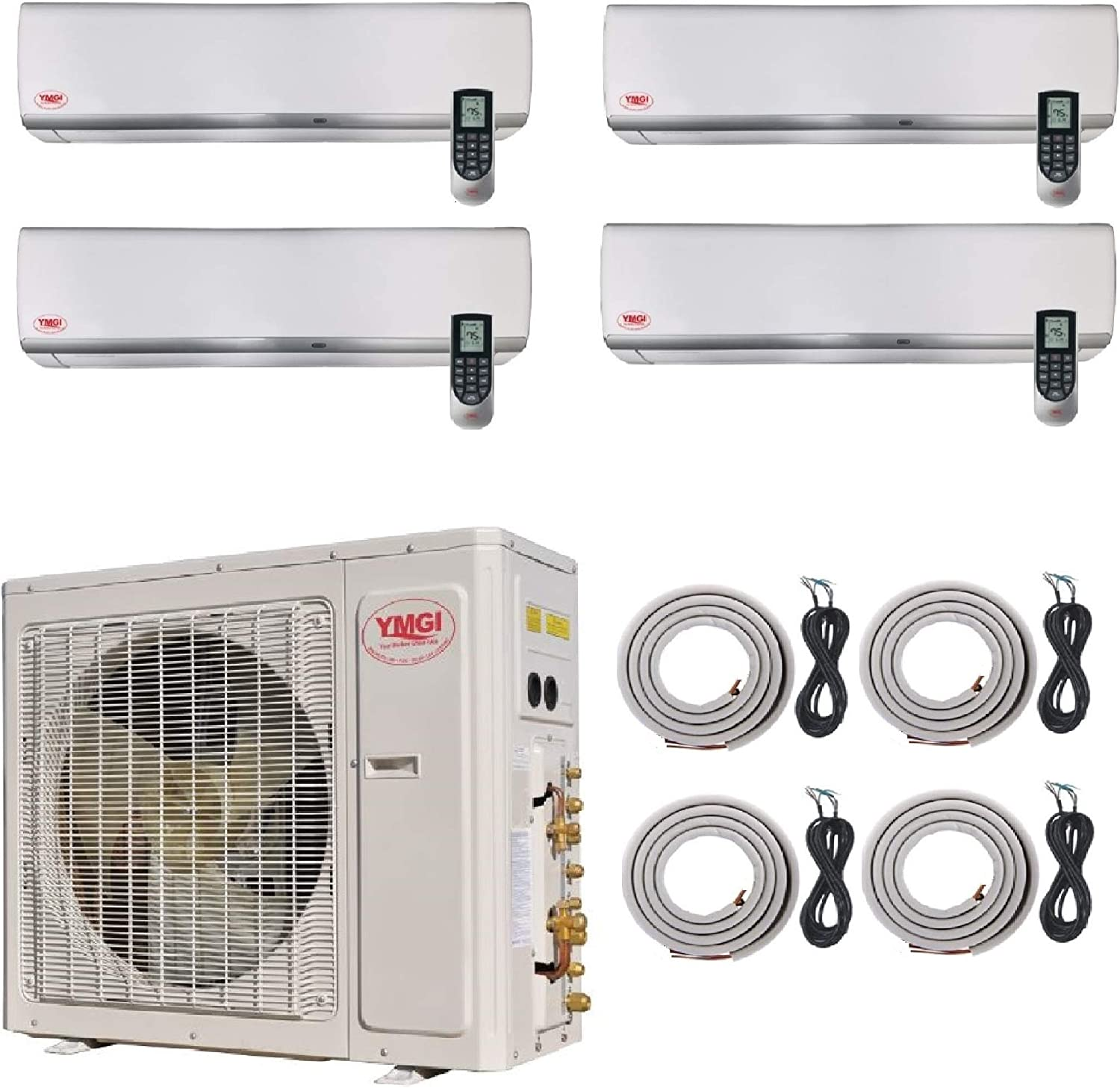 YMGI Four Zone 54000 BTU 4 Zone 9000 9000 18000 18000 Wall Mount Ductless Mini Split Air Conditioner with Heat Pump with 25 Ft Lineset Installation Kits