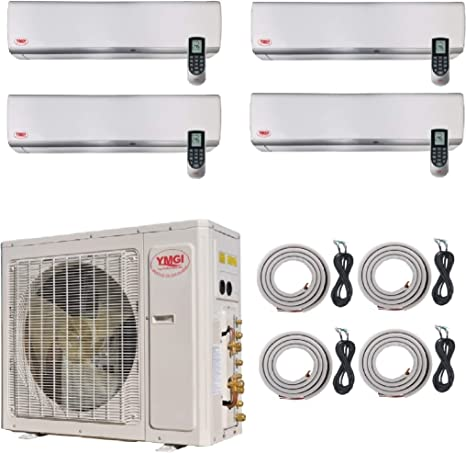 Ymgi Ductless Mini Split Air Conditioner With Heat Pump Four Zone 42000 Btu 4 Zone 9000 9000 12000 12000 Wall Mount With 25 Ft Line Set Installation Kits Home Kitchen