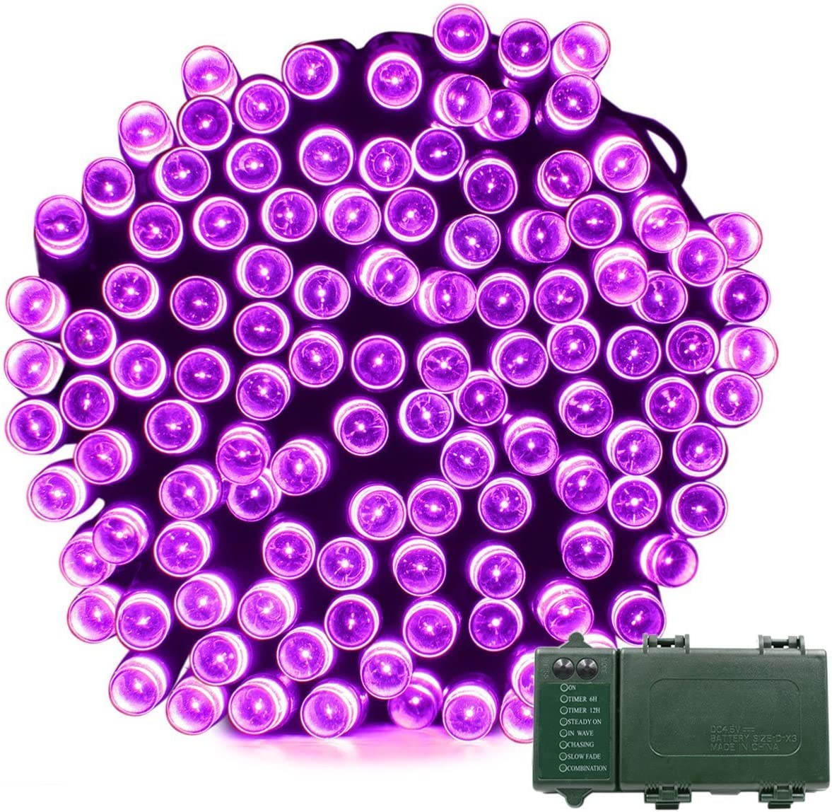 Vmanoo Christmas Lights, Battery 72ft 200 LED, String Lights for Outdoor, Indoor, Garden, Patio, Holiday Party, Wedding Xmas Decorations Purple