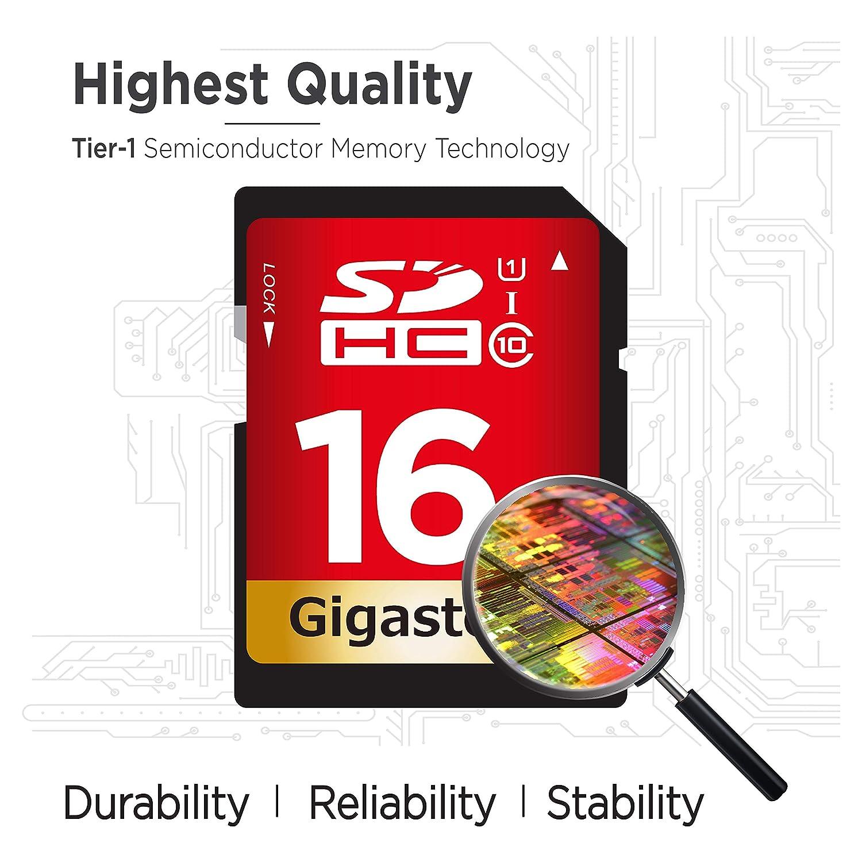 Gigastone 16GB SD Card UHS-I U1 Class 10 SDHC Memory Card High-Speed Full HD Video Canon Nikon Sony Pentax Kodak Olympus Panasonic Digital Camera