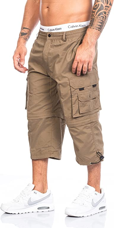 TALLA L. Pantalones cortos para hombre Freemen Cargo Capri de estilo vintage, 3/4