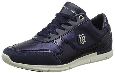 0e389fa4 Tommy Hilfiger Women's Camo Metallic Light Low-Top Sneakers, Blue (Tommy  Navy 406