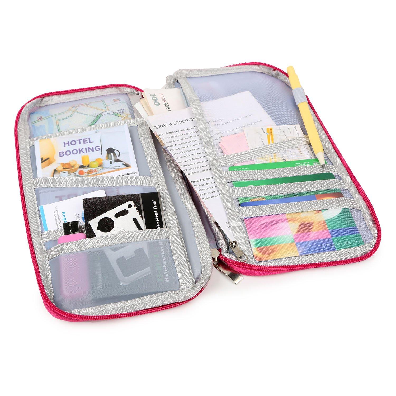 IMounTEK-Porta passaporto e, materiale poliestere, con 12 tasche esterne e Eleven interno, resistente e lavabile, conserva i documenti e tessere, Rosa (Rosa) - GPCT670