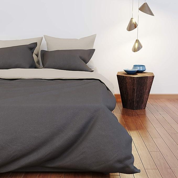 Dreamzie - Colcha Cama - 100% Algodón & Oeko Tex - Color Reversible (Gris Claro et Gris Oscuro) - Funda Nordica 200x200 cm y 2 Fundas de Almohada 50x75 cm: Amazon.es: Hogar