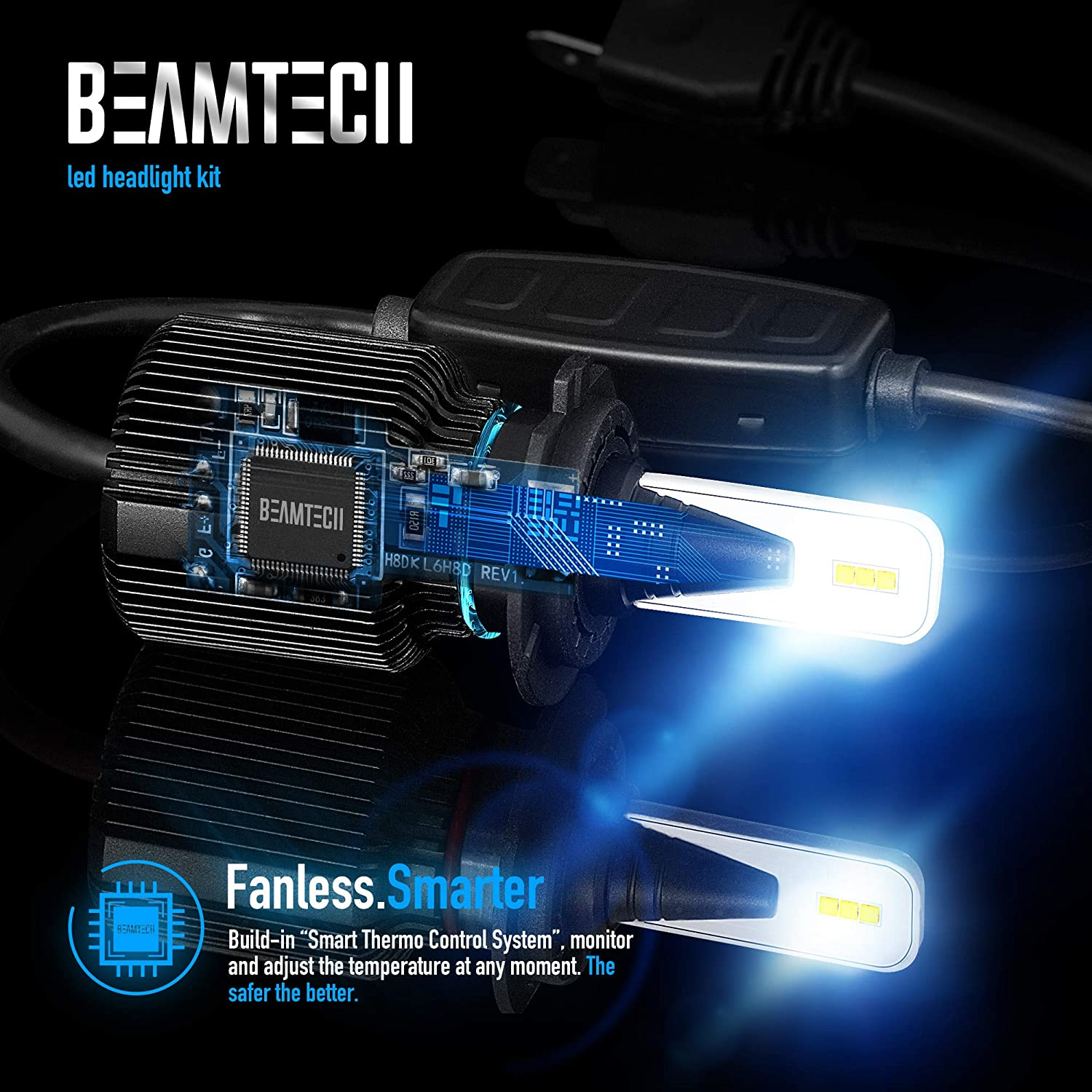 BEAMTECH H11 LED Headlight Bulb,Fanless CSP Y19 Chips 8000 Lumens 6500K Xenon White H8 H9 Extremely Bright Conversion Kit of 2