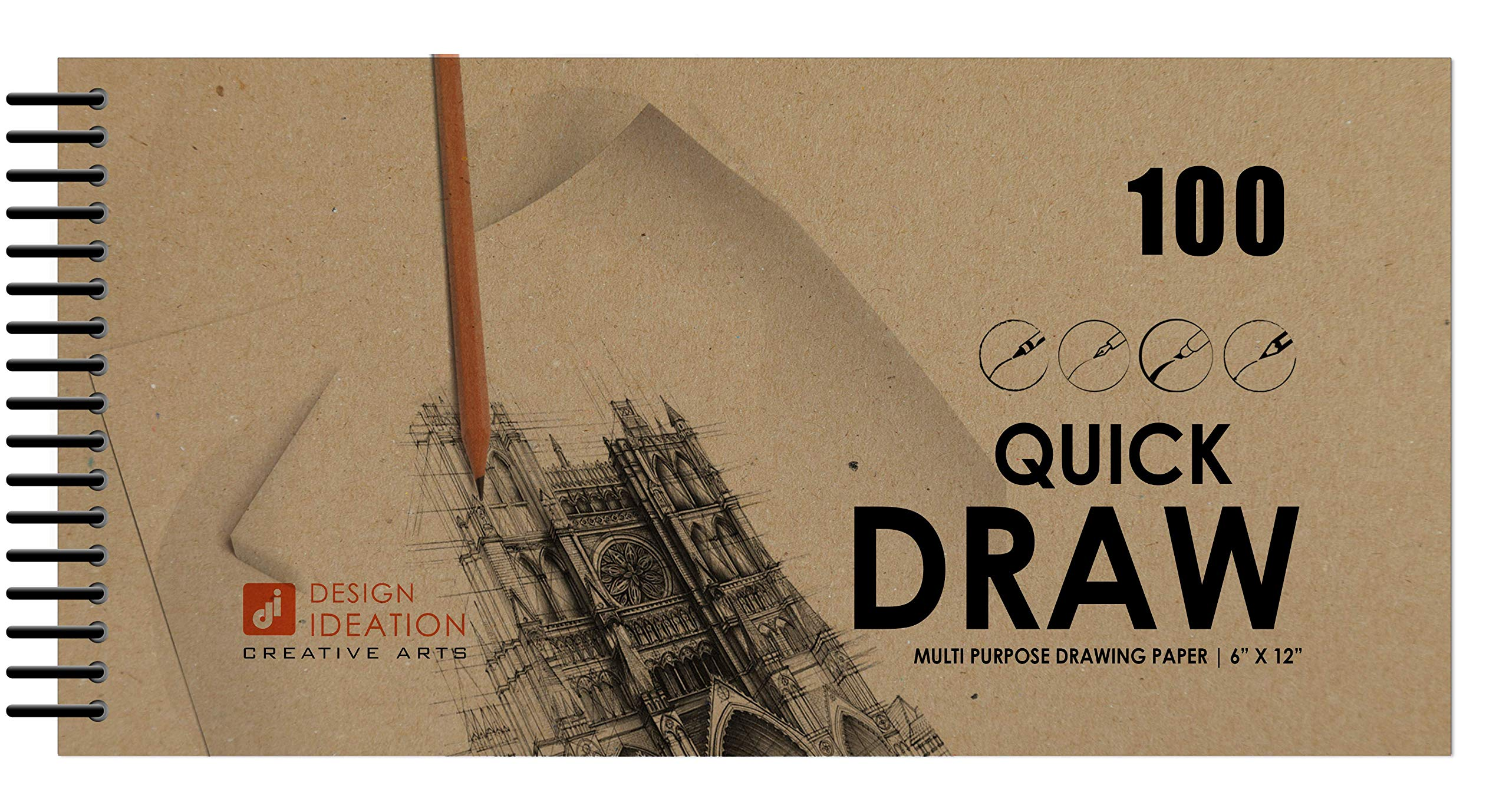 Design Ideation Quick Draw Book : Multi-Media Paper Drawing Book for Pencil, Ink, Marker and Charcoal. Great for Art, Design and Education. Ideal for Quick Drawing. Made in The USA. (6'' x 12'') (10) by Design Ideation