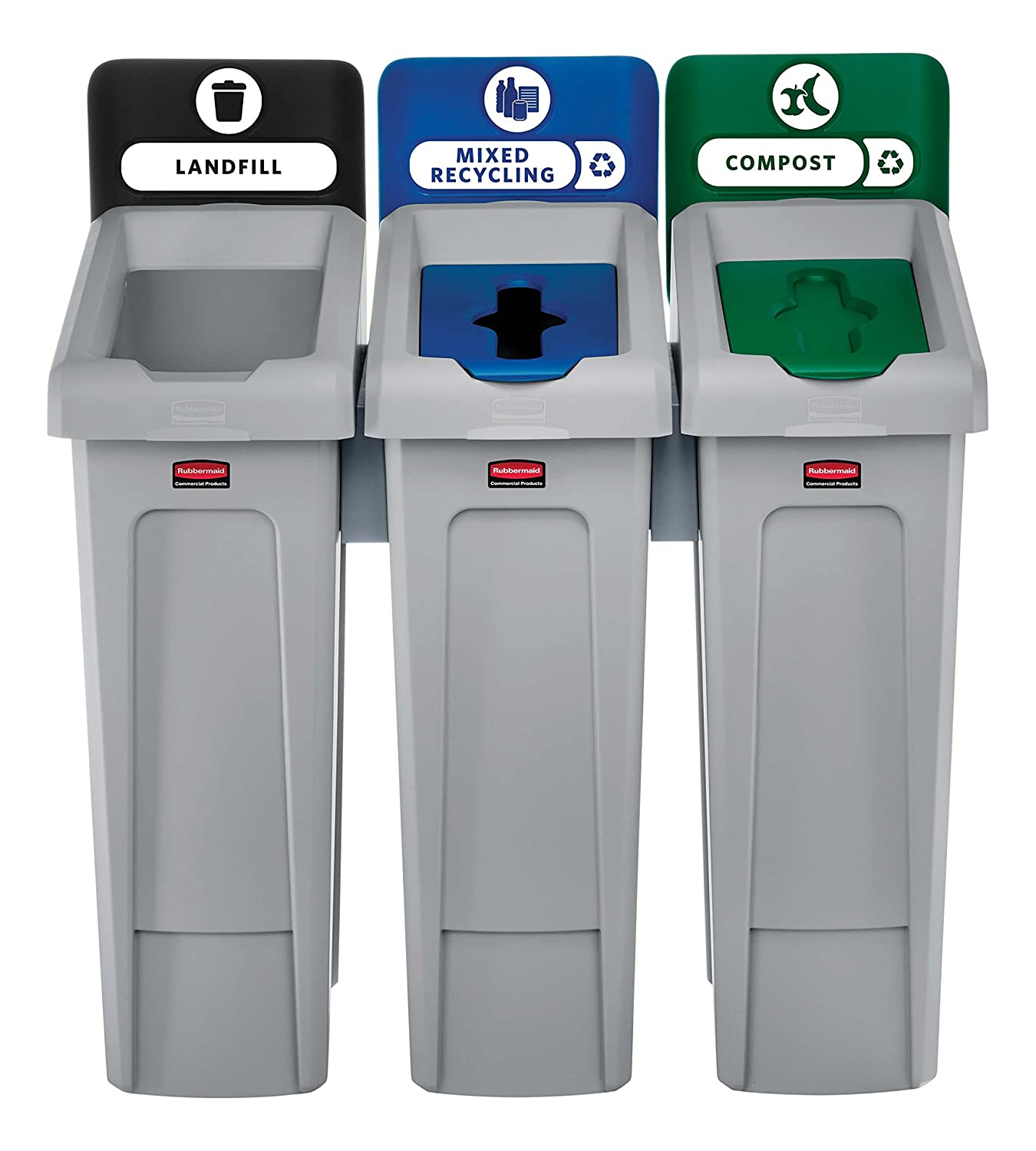 Rubbermaid Commercial Products 2007918 Slim Jim Recycling Station, 3 Stream Landfill/Mixed Recycling/Compost