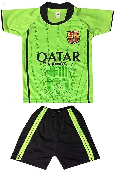 innovative design cae2f 91e4a Kids FC Barcelona Jersey/Shorts Soccer Football Lime Green ...