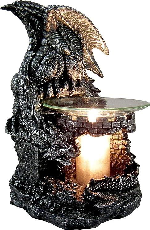 Ebros Gothic Sabretooth Skull Graveyard Dragon Electric Oil Burner Or Tart Warmer Decor Statue 8 5 Tall