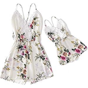 IFFEI Mommy and Me Matching Dress Spaghetti Strap Summer Casual Sundress Beach Sleeveless Dress with Headband