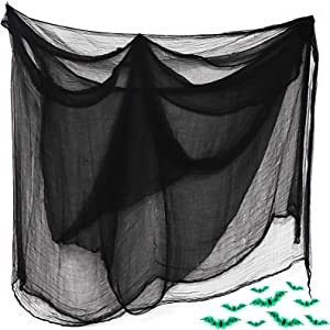 WEILIAN Halloween Creepy Cloth, Large Size Spooky Scary Decoration with Fluorescent bat for Haunted Houses Party, Doorways, Outdoor, Yard, Home, Wall, Decor (35579 inches 1 Pack - Black)