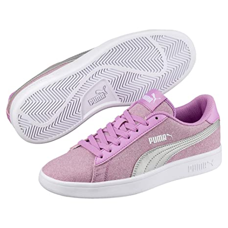 Puma Smash V2 Glitz Glam Junior Lace-Up Trainers Casual Fashion Shoes Blue Pink