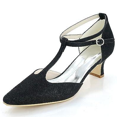 Femmes Elobaby De Bout Mariage Pompes Chaussures Fermé Boucle OwPkn0