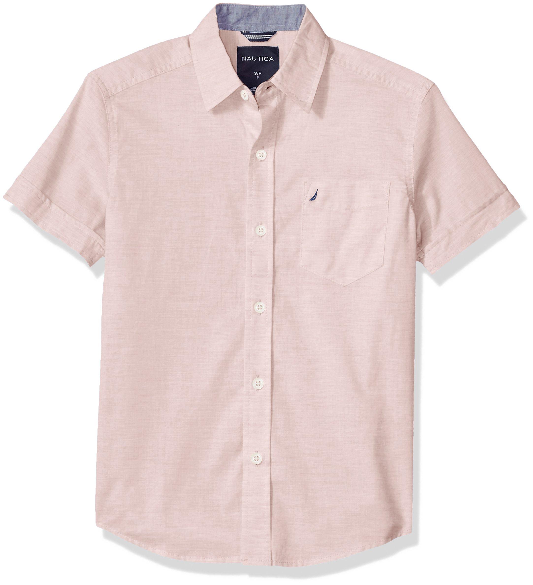 Nautica Boys' Little Short Sleeve Poplin Shirt, Sunair Peach, 5/6