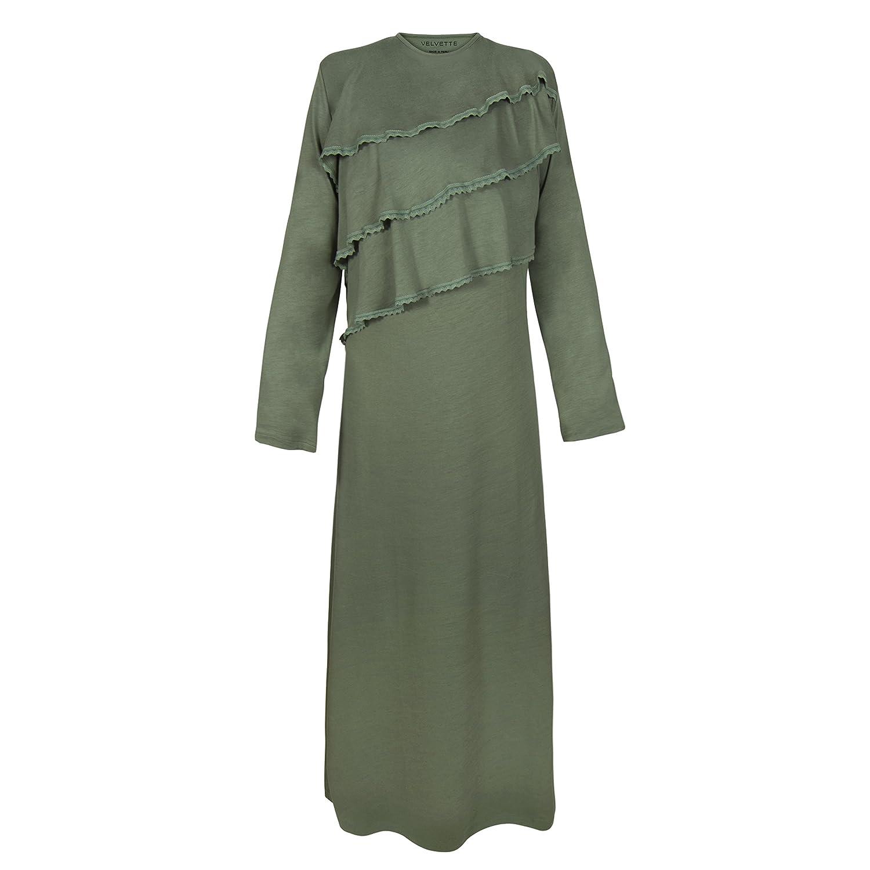 29dd95d01fef Little Loungers Womens Premium Soft Pima Cotton Comfy Long Sleeve Ruffled  Robe - Sleepwear - Loungewear