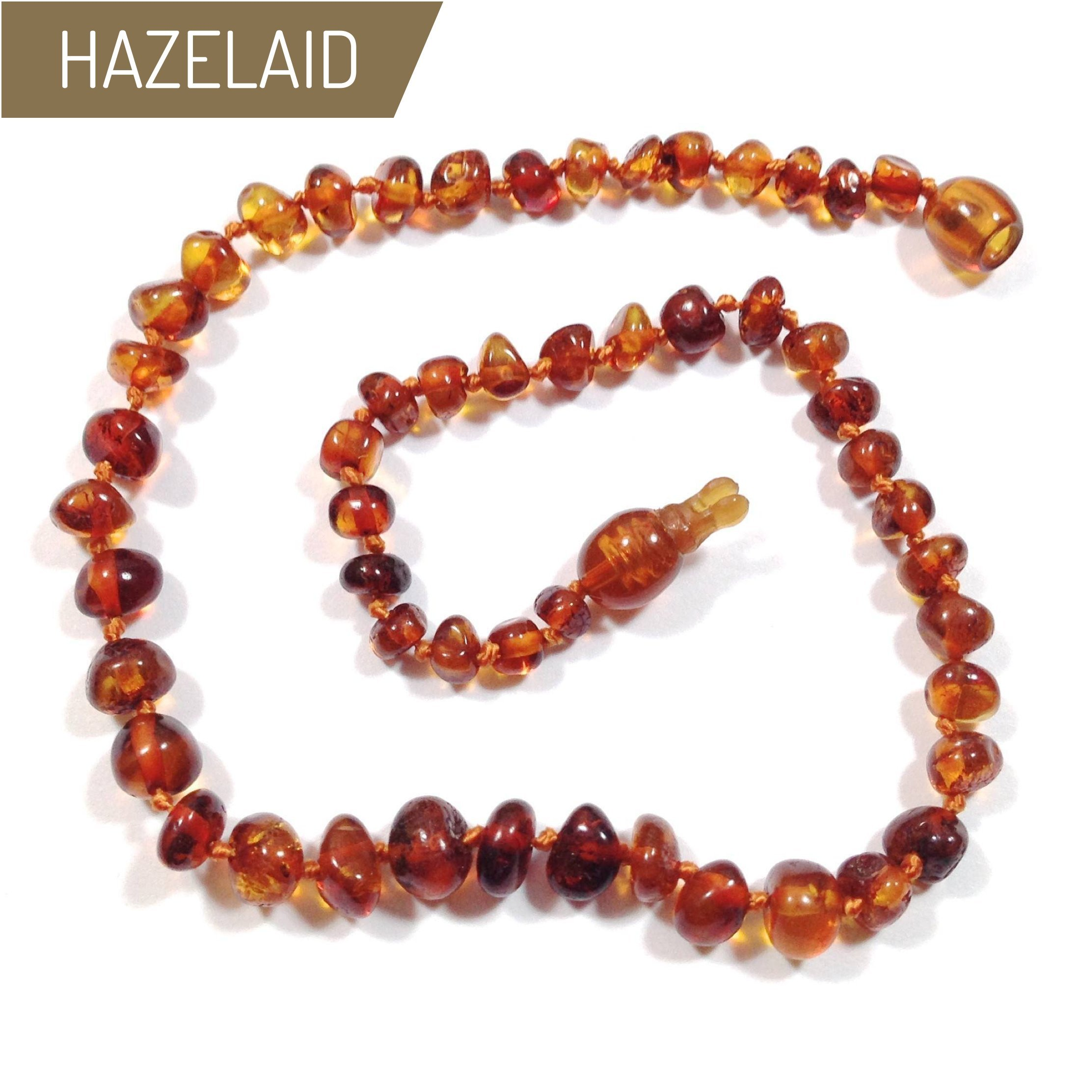 Hazelaid (TM) 12'' Pop-Clasp Baltic Amber Cognac Necklace
