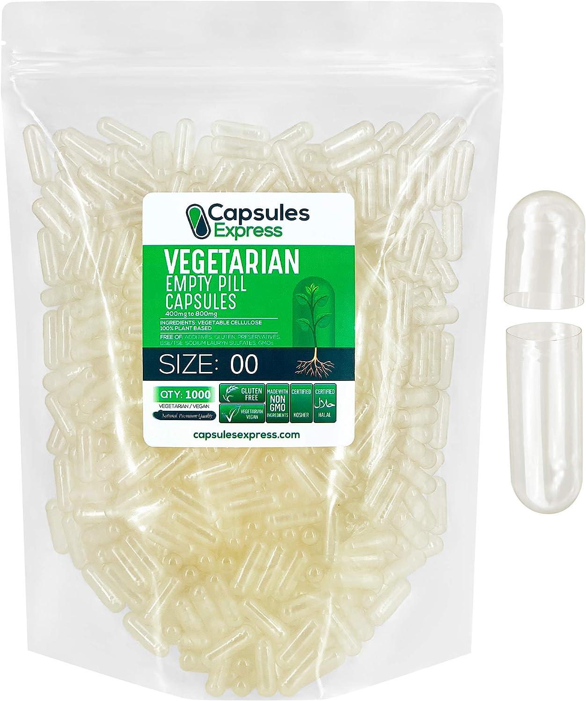 Capsules Express- Size 00 Clear Empty Vegan Capsules 1000 Count - Kosher and Halal - Vegetarian / Vegetable Pill Capsule - DIY Powder Filling
