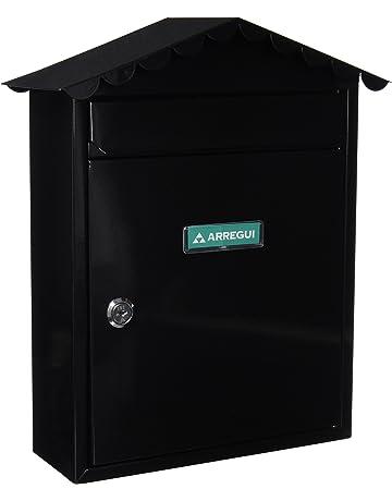 Arregui E5744 Buzón para exterior (acero), Negro, 360 x 300 x 110