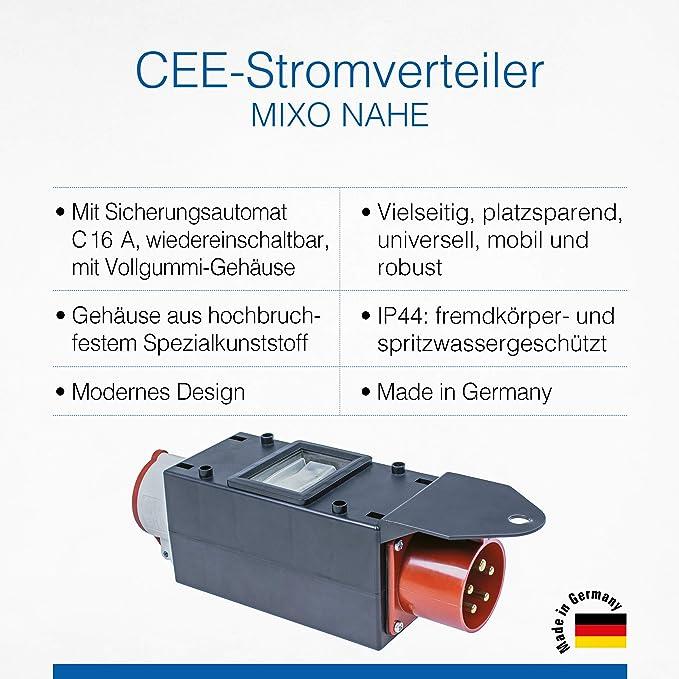 As Schwabe Mixo Adapter Stromverteiler Nahe Cee Stecker Auf 5 Polige Cee Steckdose Robuster Starkstrom Verteiler Für Baustelle Und Gewerbe Ip44 Made In Germany I 60703 Baumarkt