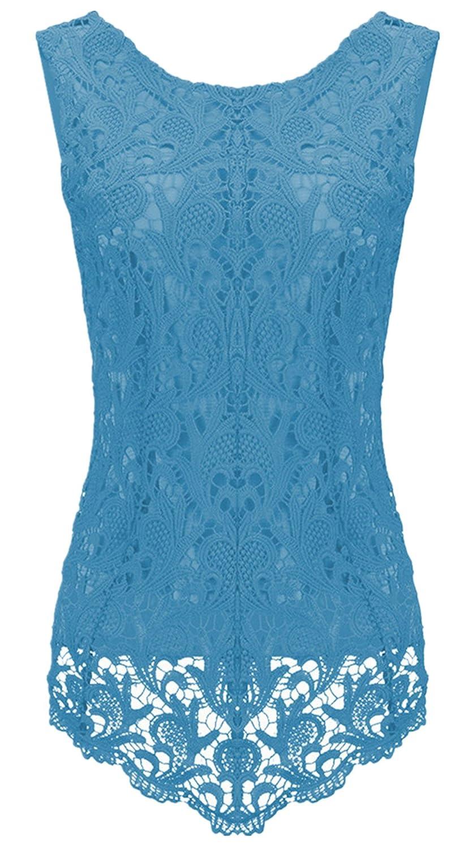 Moda Senza Maniche a Fiori Floreale Lace Overlay Spliced Hollow out Smerlato Hem Vest Canotte e Top Cami Shirt Camicia Peplum Peplo Top