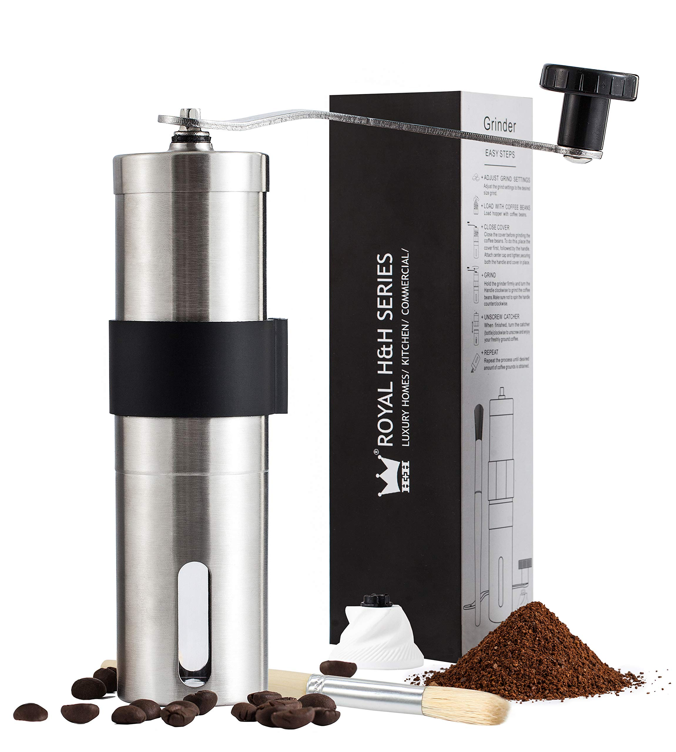 Royal H&H Fine Manual Coffee Grinder Ceramic Burr Mill Portable Hand Held Conical Adjustable Size Fresh Whole Kopi Bean Grind Maker Heavy Duty Brushed Stainless Steel Extra Burr and Brush Set by Royal Home & Hardware