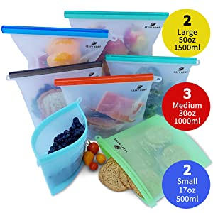 LEAFY HOME Reusable Silicone Food Bag, Environment-Friendly Bag | 7 Bags 3 Sizes | Silicone Food Storage Bag | Silicone Ziploc Bags | Silicone Bags Reusable | Dishwasher Steamer & Freezer Safe