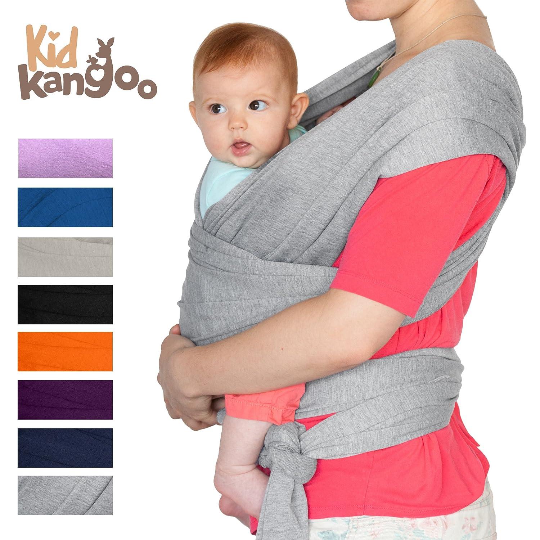 Écharpe de portage pour porter votre bébé - Porte bébé en coton et lycra - Porte bébé pour hommes et femmes disponible en cinq couleurs (GRIS) KIDKANGOO Baby carriage