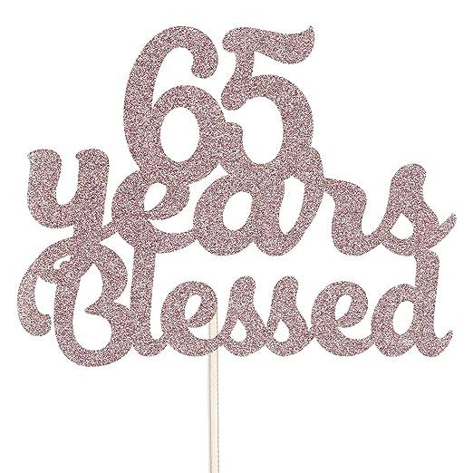Decoración para tarta con purpurina para cumpleaños de 65 ...