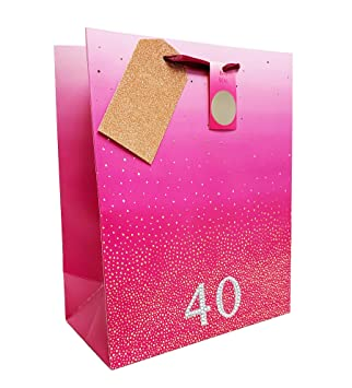 Happy 40th Birthday Gift Bag Large Pink Butterfly Ladies Quality Present Giftbag Age 40