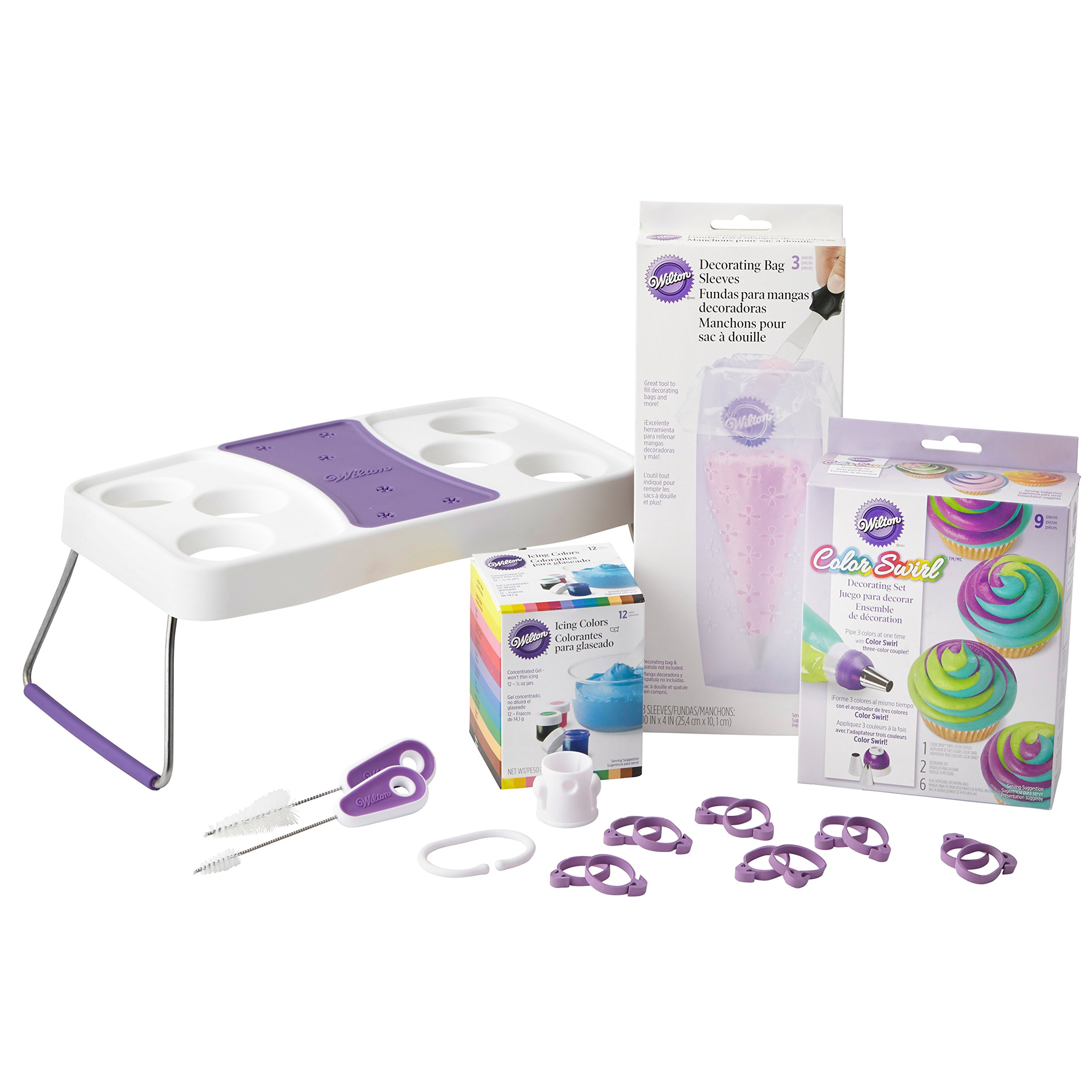 Wilton Color Swirl Cupcake Decorating Supplies Kit, 19-Piece - Color Swirl Three-Color Coupler, Gel-Based Food Colors, Decorating Bag Holder, Icing Bag Ties, Bag Cutter and Brush Set
