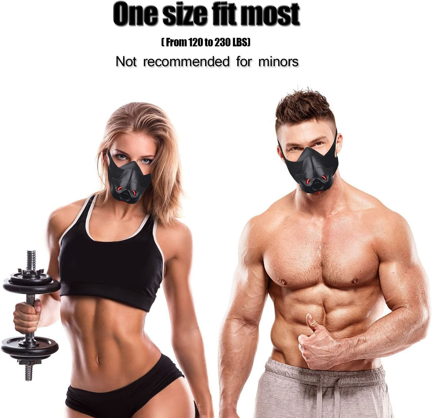 Sport Workout Training Mask Hypoxic Breathing Resistance Mask Fitness Running Mask Endurance Mask Achieve High Altitude Elevation Effects with 3 Level ...