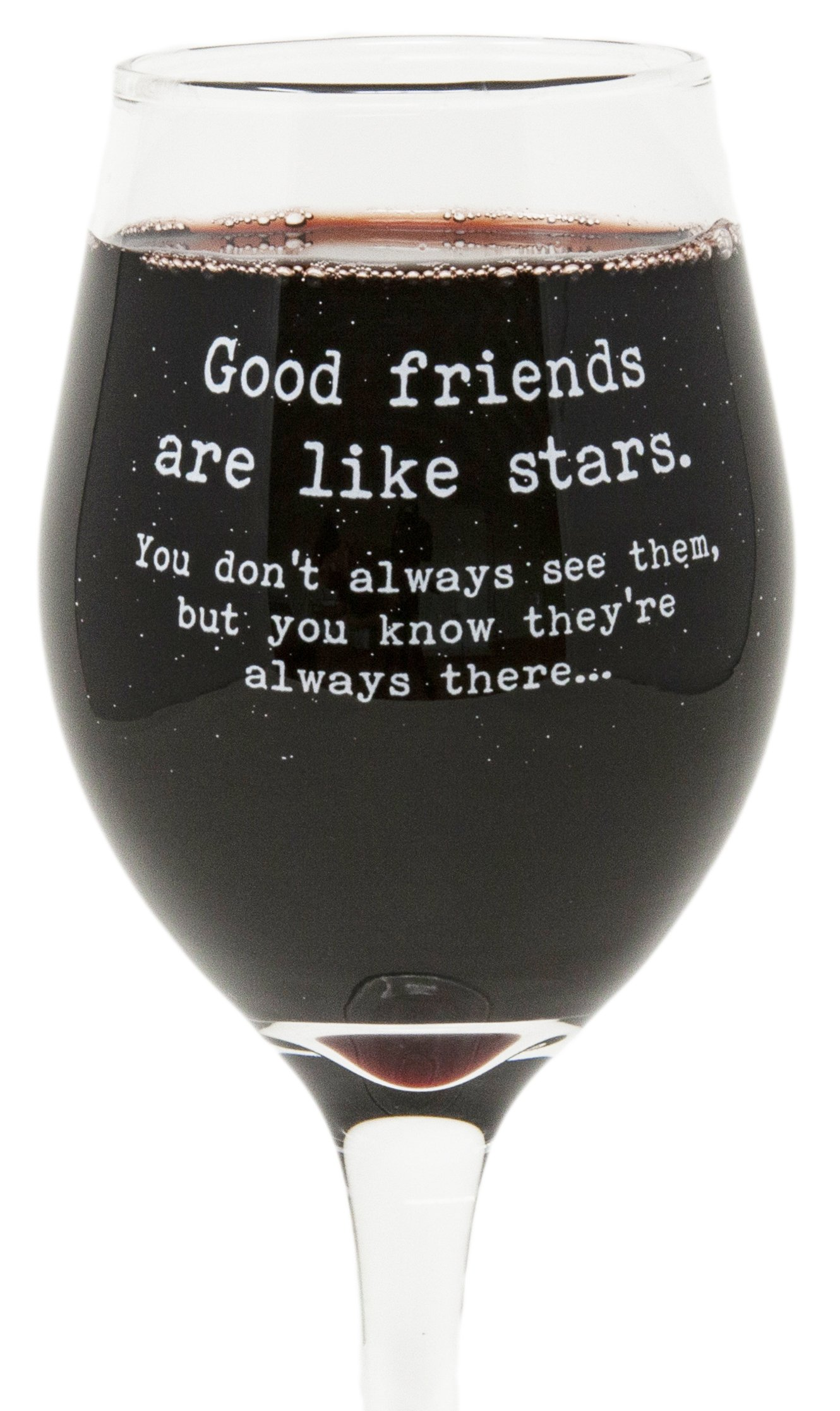Funny Guy Mugs Good Friends Are Like Stars Wine Glass, 11-Ounce - Unique Gift for Women, Mom, Daughter, Wife, Aunt, Sister, Girlfriend, Teacher or Coworker (Several Styles To Choose From)