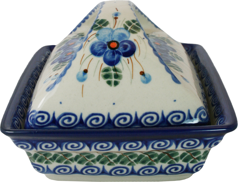 Polish Pottery Ceramika Boleslawiec, 0352/162, Butter Dish Deep, 2 Cubes, Royal Blue Patterns with Blue Pansy Flower Motif by Polish Pottery Ceramika Boleslawiec (Image #5)