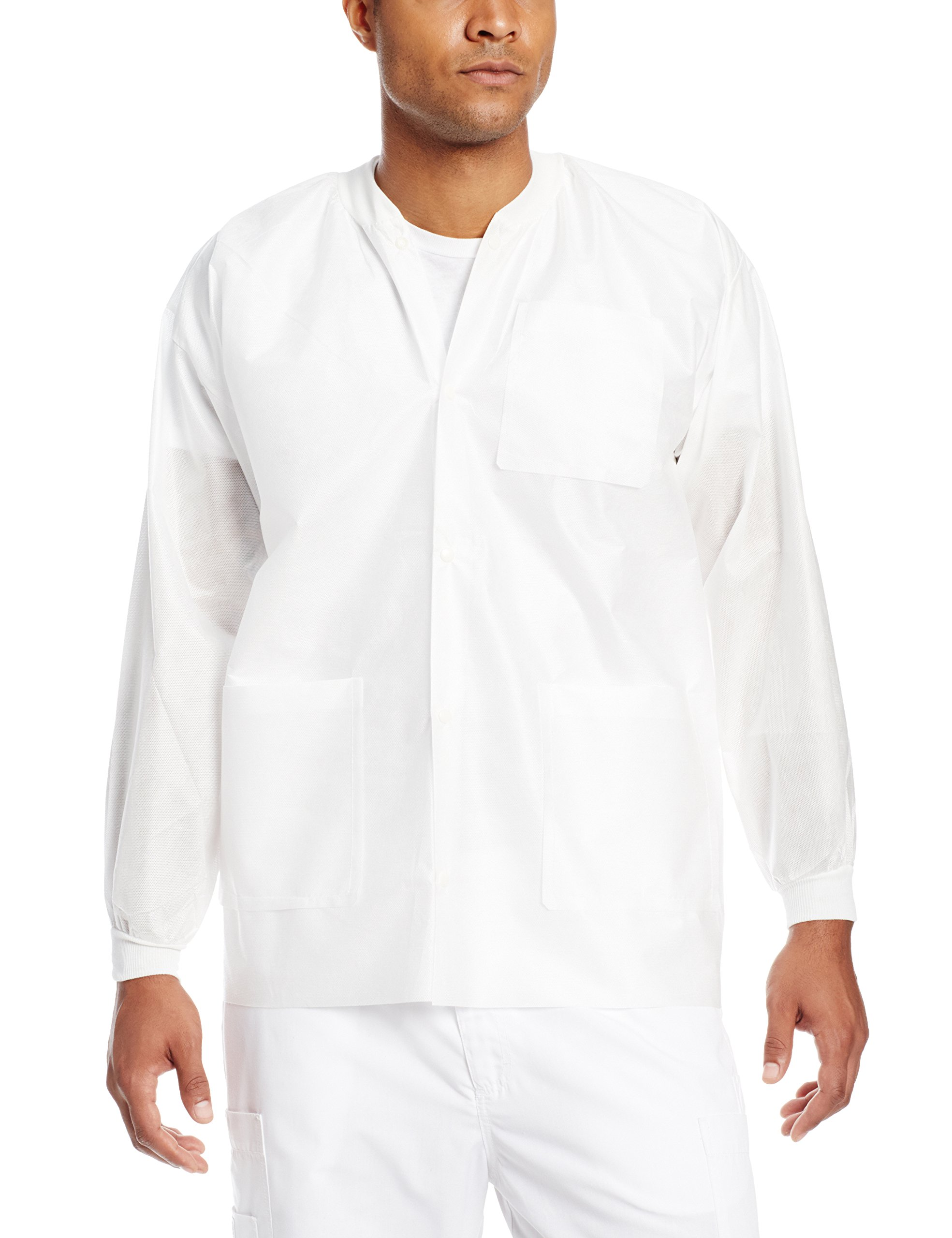ValuMax 3630WHXL Extra-Safe, Wrinkle-Free, Noble Looking Disposable SMS Hip Length Jacket, White, XL, Pack of 10