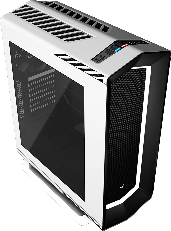 Aerocool P7C1WH - Caja gaming para PC (ATX, Semitorre, LED 8 colores, incluye ventilador trasero 12 cm, ventana transparente, 7 ranuras de expansión, 2 x USB 2.0/3.0, audio HD) blanco