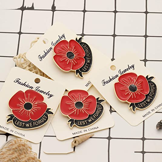 Rhungift 10 Pack Metal Poppy Flower Brooch Pins Lest We Forget Veterans Day pins Memorial Day Remembrance Day lapel pin