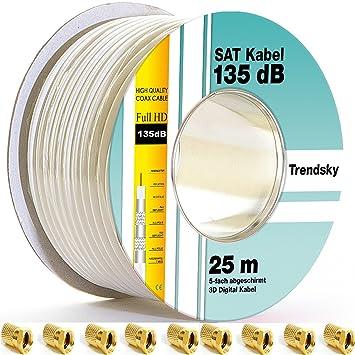 Cable coaxial 135 dB, de 5 hilos, para antena, satélite, para sistemas