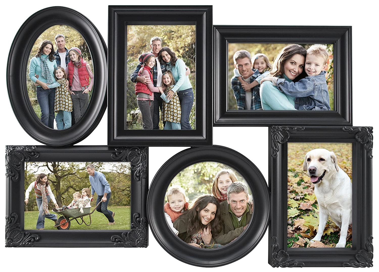 MCS 6 Openings Multi-Shaped Collage Frame with 5-4x6 Inch and 1-5x5 Inch Openings, Black (65708) MCS Industries