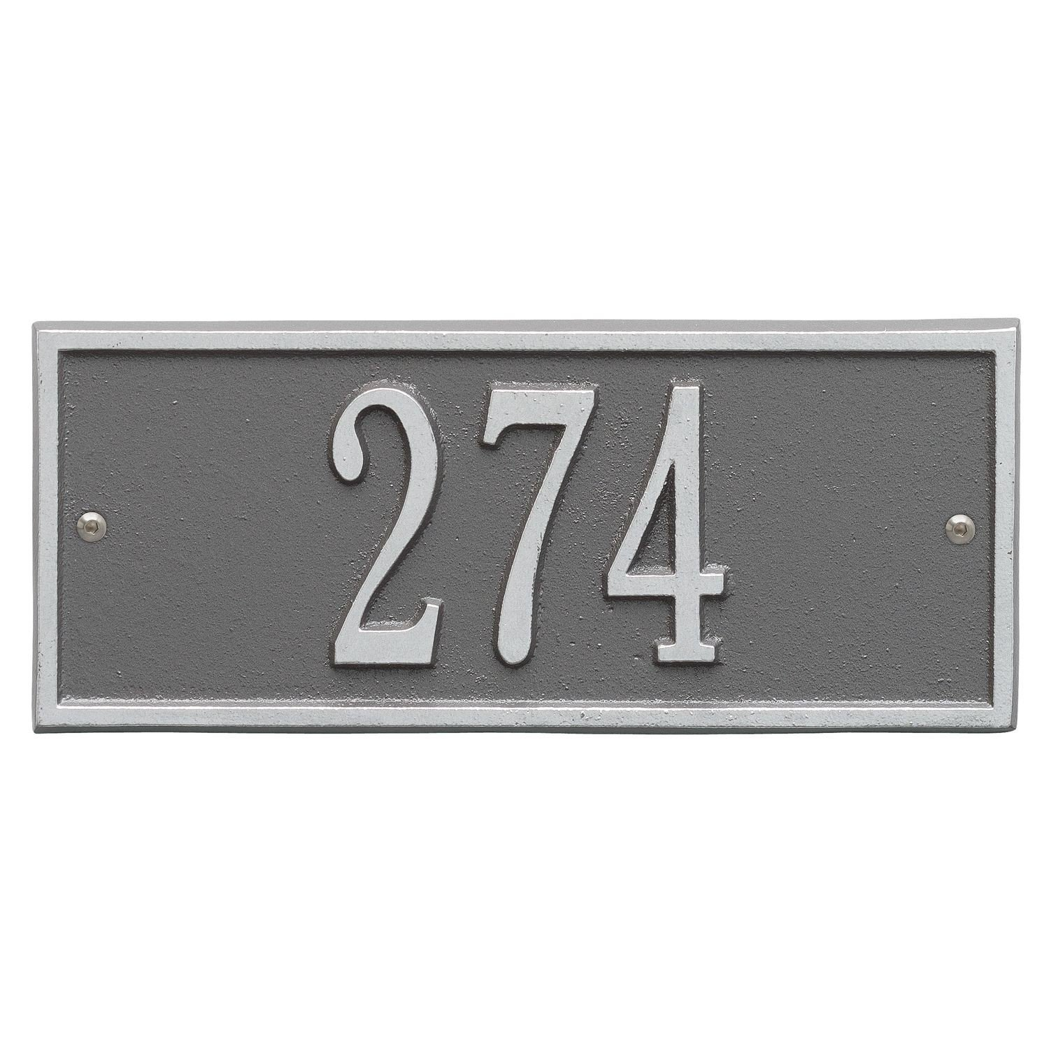 Whitehall Personalized Cast Metal Address Plaque - Small Hartford Custom House Number Sign - 10.5'' x 4.25'' - Allows Special Characters - Pewter/Silver