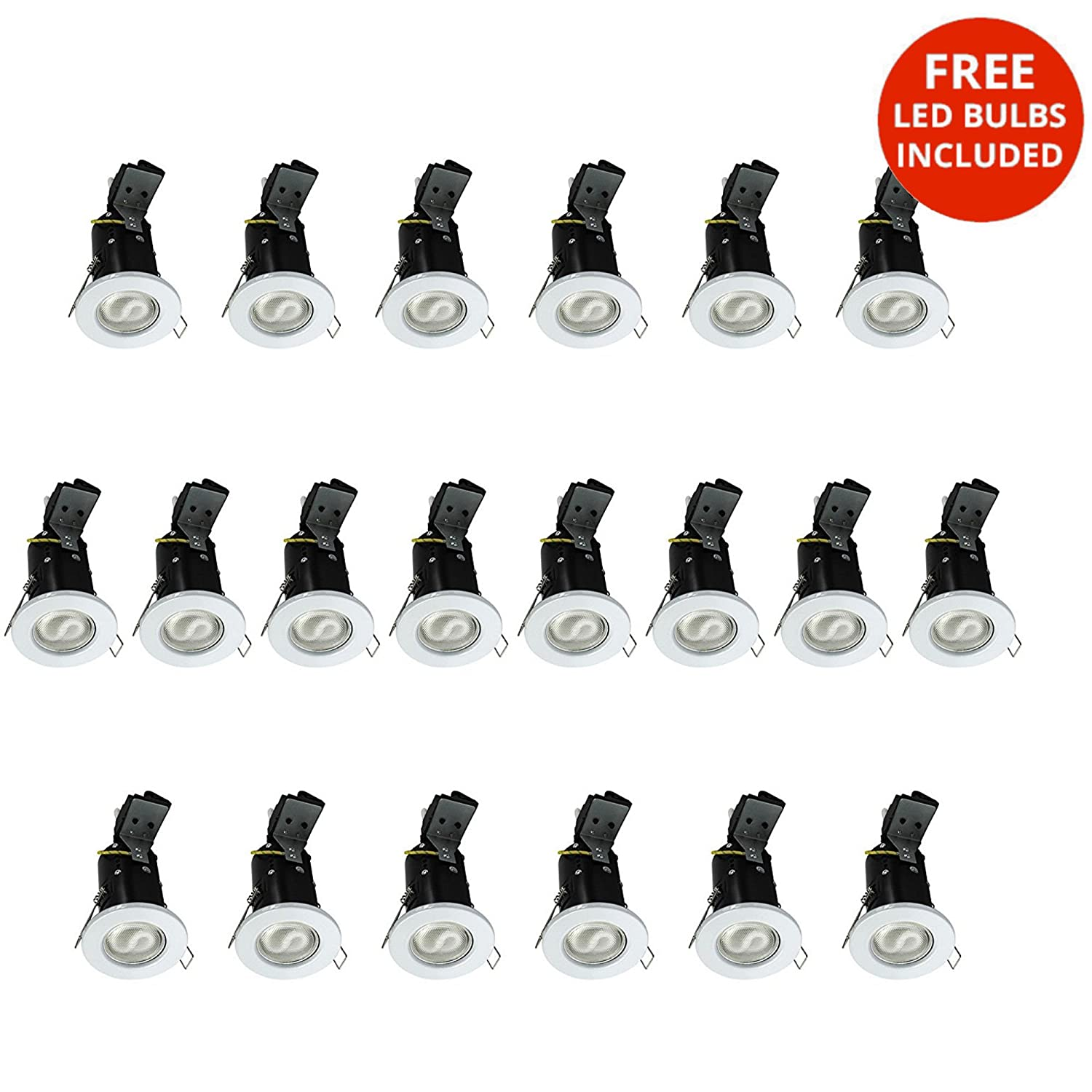 Chrome, 20 Pack Litecraft Fire Rated Ceiling Spotlight Downlights with LED Bulbs Included