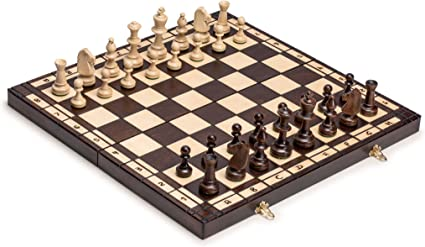 Large European Wooden Chess and Checkers Set 19.7 Husaria