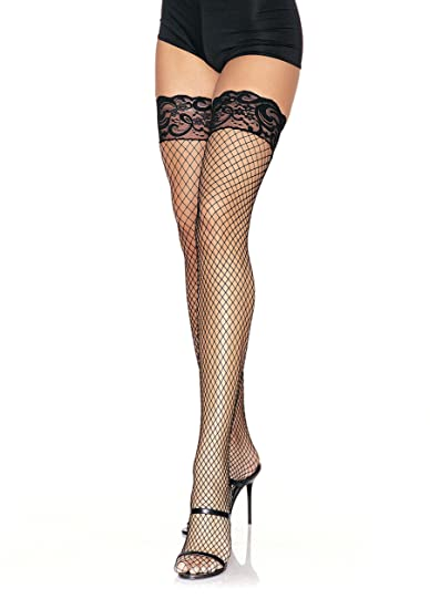 85a3eb9ac3d Amazon.com: Leg Avenue Womens Stay-Up Lace Top Industrial Fishnet ...