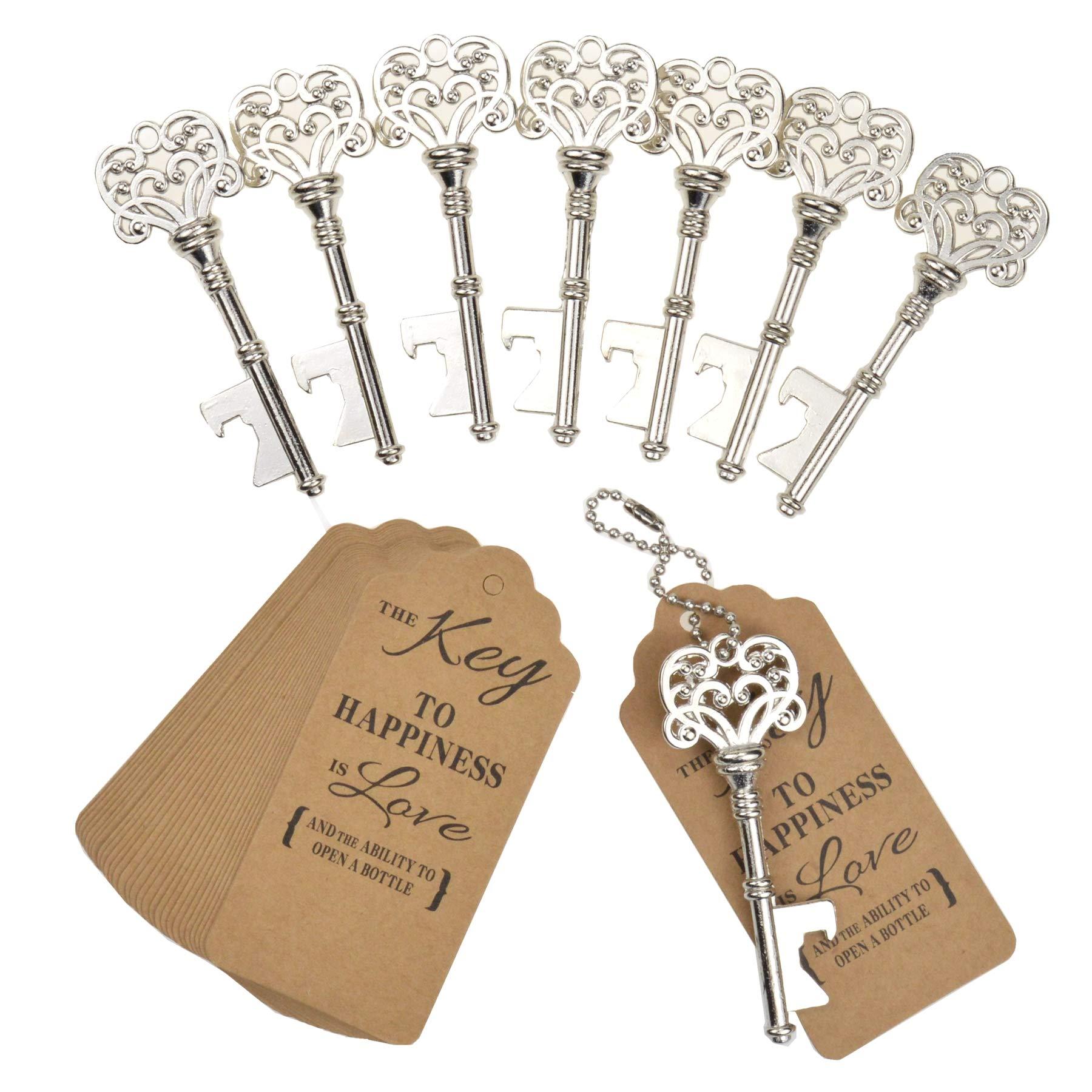 DerBlue 60 PCS Key Bottle Openers,Vintage Skeleton Key Bottle Opener,Skeleton Key Bottle Openers Wedding Favors Antique Rustic Decoration with Heart shaped kraft paper label card (Silver-4)