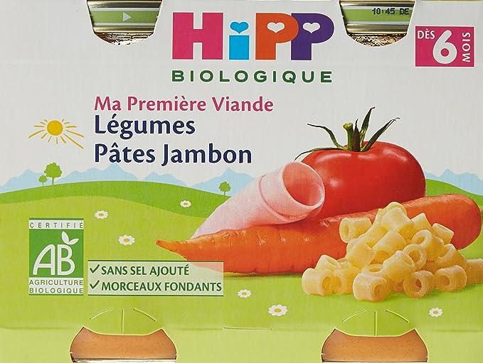Bons prix enfant homme HiPP Biolologique Ma Première Viande Légumes Pâtes Jambon / Carottes Pommes  de terre Bœuf / Haricots verts Pommes de terre Poulet dès 6 mois - 12 pots  ...